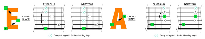 A and E chord shapes