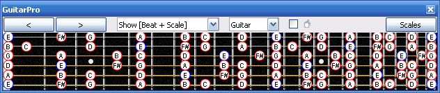 GuitarPro6 E minor scale