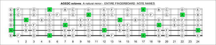 AGEDC octaves A natural minor note names