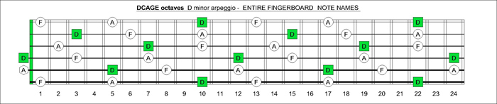 DCAGE octaves fingerboard D minor arpeggio notes