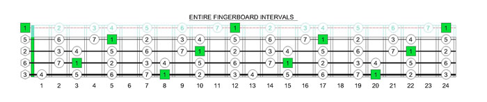 CAGED4BASS C major scale intervals
