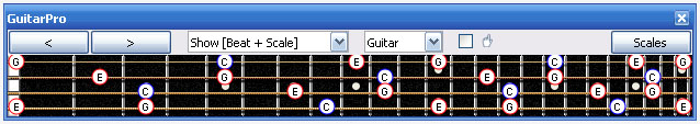 GuitarPro6 fingerboard C major arpeggio