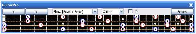 GuitarPro6 A minor arpeggio notes