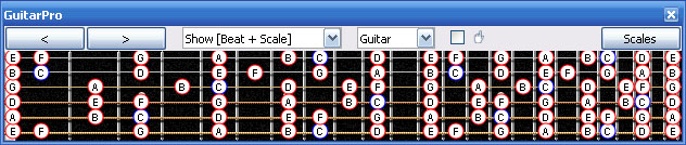 GuitarPro6 6-string guiatr C major scale