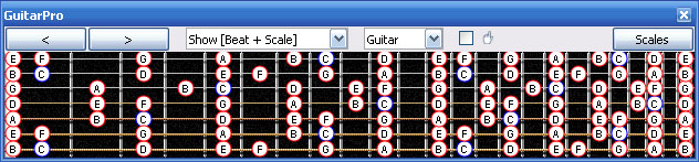GuitarPro6 7-string guitar C major scale