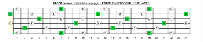 CAGED octaves B diminished arpeggio notes
