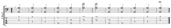 A natural octaves TAB