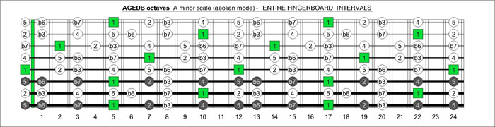 AGEDB octaves fretboard A minor scale intervals