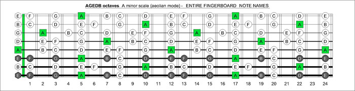 AGEDB octaves fretboard A minor scale notes