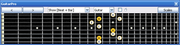 GuitarPro6 A minor arpeggio 7Bm5Bm2 box shape