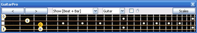 GuitarPro6 C major arpeggio 3nps : 3C* box shape