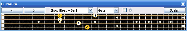 GuitarPro6 C major arpeggio 3nps : 4G1 box shape