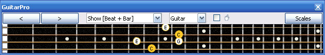 GuitarPro6 C major arpeggio 3nps : 4E2 box shape