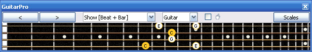GuitarPro6 C major arpeggio 3nps : 4E2D* box shape