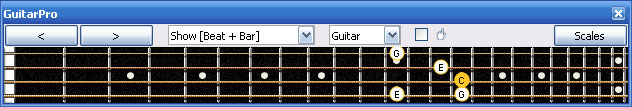 GuitarPro6 C major arpeggio 3nps : 3C* box shape at 12