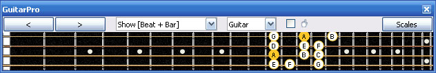 GuitarPro6 A minor scale 3nps : 3Am1Gm box shape at 12