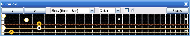 GuitarPro6 fingerboard : C major arpeggio 5B3 box shape