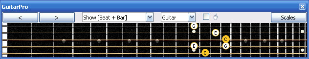 GuitarPro6 fingerboard : C major arpeggio 5B3 box shape at 12