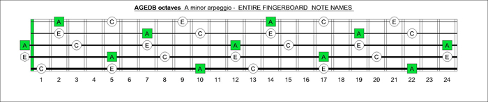 AGEDB octaves fingerboard A minor arpeggio note names