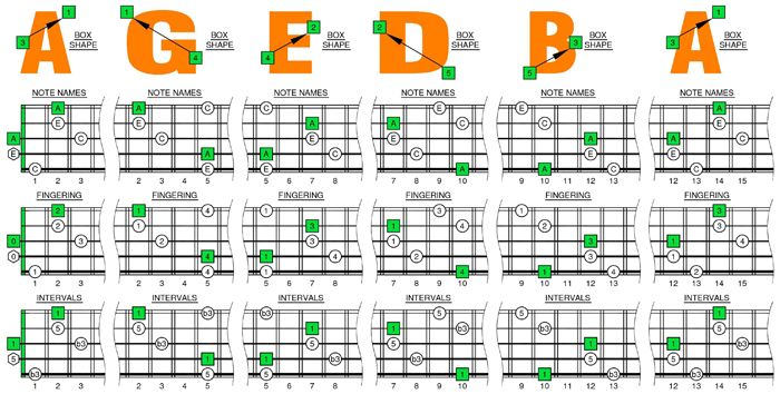 AGEDB octaves A minor arpeggio box shapes