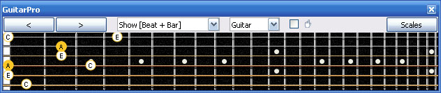 GuitarPro6 A minor arpeggio (3nps) : 4Am2 box shape