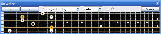 GuitarPro6 A minor arpeggio (3nps) : 5Gm2 box shape