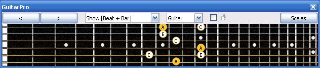 GuitarPro6 A minor arpeggio (3nps) : 6Bm4Cm1 box shape