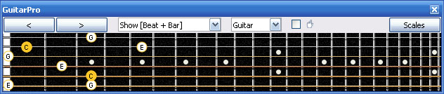 GuitarPro6 C major arpeggio (3nps) : 5C2 box shape