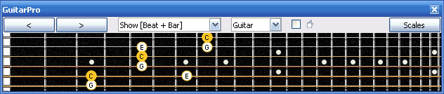 GuitarPro6 C major arpeggio (3nps) : 5A3G1 box shape