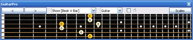 GuitarPro6 C major arpeggio (3nps) : 6G3G1 box shape