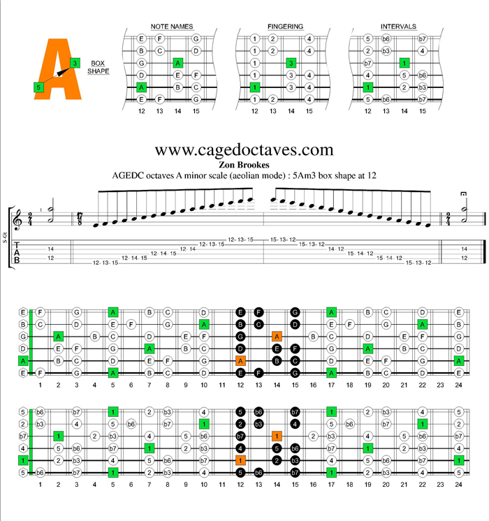 AGEDC octaves A minor scale : 5Am3 box shape at 12