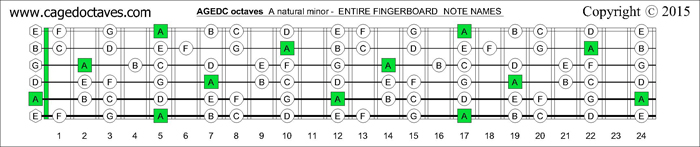 AGEDC octaves fingerboard A minor scale notes