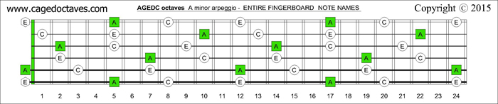 AGEDC octaves fingerboard A minor arpeggio notes