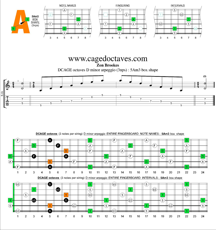 DCAGE octaves D minor arpeggio (3nps) : 5Am3 box shape