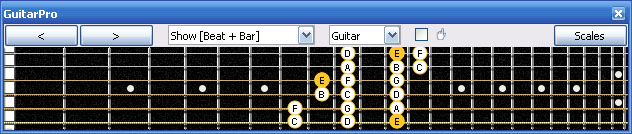 GuitarPro6 E phrygian mode 3nps : 6Gm3Gm1 box shape