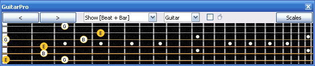 GuitarPro6 E minor arpeggio (3nps) : 6Em4Dm2 box shape