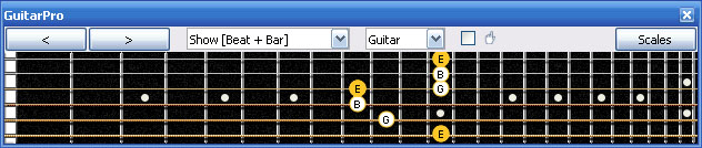 GuitarPro6 E minor arpeggio (3nps) : 6Gm3Gm1 box shape