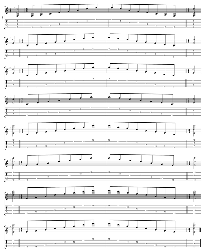 EDCAG octaves E minor arpeggio (3nps) box shapes TAB