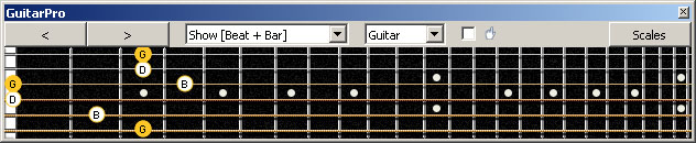 GuitarPro6 G major arpeggio (3nps) : 6G3G1 box shape