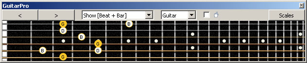 GuitarPro6 G major arpeggio (3nps) : 6E4E1 box shape