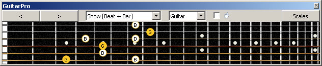 GuitarPro6 G major arpeggio (3nps) : 6E4D2 box shape
