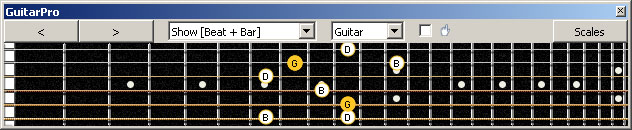GuitarPro6 G major arpeggio (3nps) : 5C2 box shape