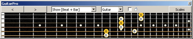 GuitarPro6 G major arpeggio (3nps) : 5A3G1 box shape