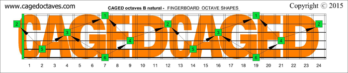 CAGED octaves fingerboard : B natural octaves