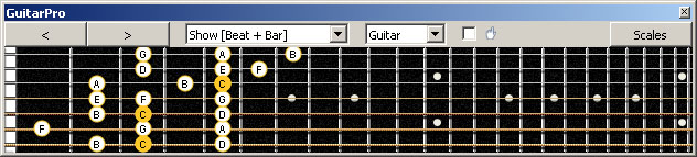 GuitarPro6 (7 string Drop A) 3nps C ionian mode (major scale) : 7B5A3 box shape