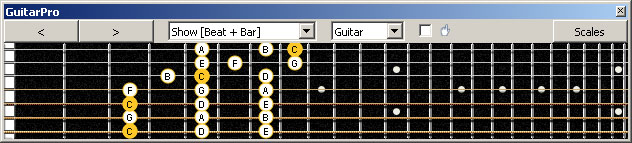 GuitarPro6 (7 string Drop A) 3nps C ionian mode (major scale) : 7A5A3G1 box shape