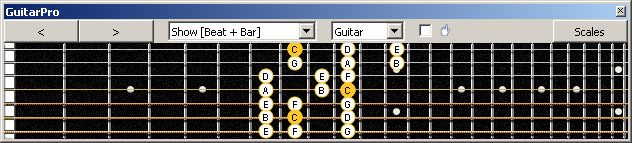 GuitarPro6 (7 string Drop A) 3nps C ionian mode (major scale) : 6E4E1 box shape