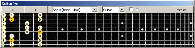 GuitarPro6 (8 string : Low G) C major scale : 7B5B2 box shape