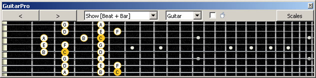 GuitarPro6 (8 string : Low G) C major scale : 8A5A3 box shape