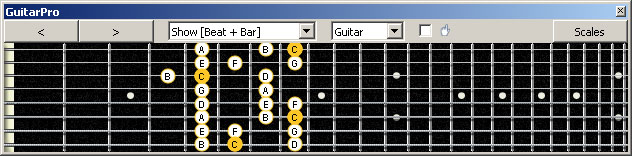GuitarPro6 (8 string : Low G) C major scale : 8F#6G3G1 box shape